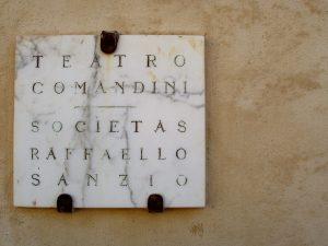 Teatro Comandini 02: The sign on the entrance of Teatro Comandini.