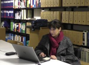 The ARCH team 03: Avra Xepapadakou at the archive of Socìetas Raffaello Sanzio.